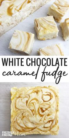 Want to try a white holiday fudge recipe that will knock your socks off? This easy, no bake White Chocolate Caramel Fudge recipe requires just 7 ingredients and about a half hour to whip up. So, what are you waiting for? You are only minutes away from a rich, creamy, decadent white chocolate fudge candy that makes a perfect dessert or homemade gift for the Christmas holidays. #fudge #chocolate #whitechocolate #candy #caramel #dessert #christmas #holidays #nobake #holidayfudge