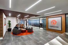 Carpenter Technology HQ - Philadelphia, PA   #TrinityTile #Station #Shark   Meyer Design   #spartansurfaces #PorcelainTile #interiordesign #corporateinteriors