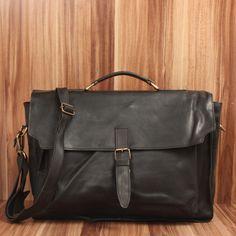 LECONI Aktentasche Businesstasche Messenger Bag Vintage Leder schwarz LE3008