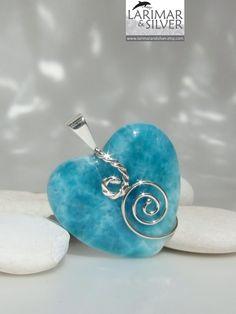 Larimar heart pendant, Swirling Teal - beautiful Caribbean Sea blue Larimar gemstone. $129.00, via Etsy.