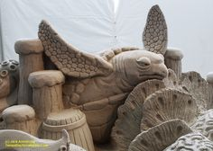 "Sand sculpture at the Pier 60 ""Sugar Sand Festival"" in Clearwater Beach,  Florida. From Jack Armstrong and tampabaysnowbirder.com Sand Sculptures, Lion Sculpture, Fun Places To Go, Tampa Bay Area, Clearwater Beach, Destin Beach, Florida Beaches, Sugar, Sand Sculpture"