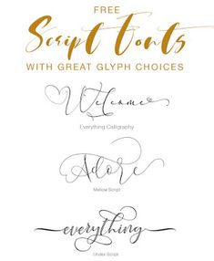 Script fonts with Glyphs Handwritten Fonts, Calligraphy Fonts, Fall Fonts, Sign Fonts, Online Fonts, Free Typeface, Christmas Fonts, Modern Script Font, Police