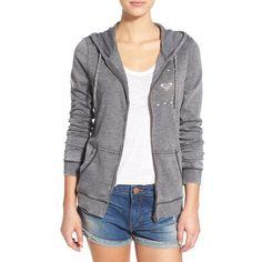 Roxy 'Tropical Bazaar Bohemian' Full Zip Hoodie ($45) ❤ liked on Polyvore featuring tops, hoodies, true black, long sleeve hoodie, full zip hoodies, roxy tops, full zipper hoodies and zip front hooded sweatshirt