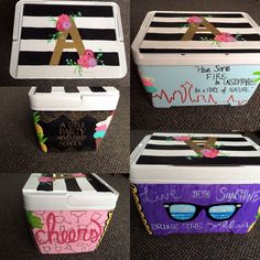 Hand Painted Cooler Cute Crafts, Diy And Crafts, Crafts For Kids, Sigma Kappa, Delta Gamma, Olive Park, Painted Coolers, Coolest Cooler, Little Sister Gifts