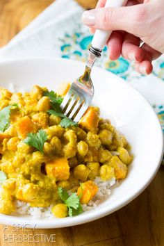 Easy Indian Chickpea Curry in the Slow Cooker. Try this crockpot friendly gluten-free chickpea curry recipe (that can be prepared dairy free as well!)