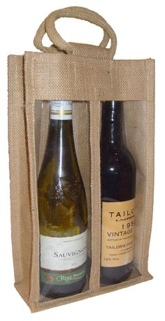 GBP - Double Wine Bottle Jute Bag With Window, Partition And Cotton Corded Handles - & Garden Wine Bottle Gift, Wine Bottle Covers, Wine Bottles, Small Gift Bags, Small Gifts, Easter Gift Bags, Hamper Boxes, Pvc Windows, Wedding Gift Bags