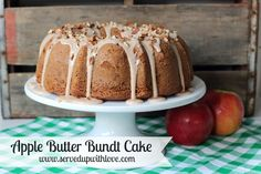 Apple Butter Bundt Cake recipe from Served Up With Love is the perfect cake for fall. Healthy Apple Desserts, Healthy Cake Recipes, Cake Mix Recipes, Punch Recipes, Apple Recipes, Fall Recipes, Sweet Desserts, Holiday Recipes, Butter Bundt Cake Recipe