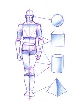 Geometric elements in the body by Abdon J Romero Human Anatomy Drawing, Human Figure Drawing, Figure Sketching, Figure Drawing Reference, Anatomy Art, Human Body Drawing, Drawing Skills, Drawing Lessons, Drawing Techniques