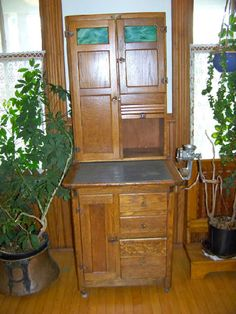 Furniture Inspiration: Oak Apartment Size Sellars hoosier cabinet with agatized glass and zinc counter top.  Circa 1910.
