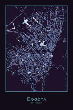 Bogota, Colombia Map Print
