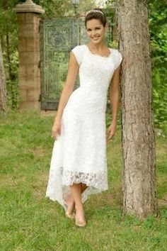 Casual country wedding dresses tea length white bridal gown in charming lace with asymmetrical hem casual bridesmaid dresses rustic wedding Hi Lo Wedding Dress, Elegant Wedding Dress, Best Wedding Dresses, Bridesmaid Dresses, Lace Wedding, Party Dresses, Wedding Simple, Ankle Length Wedding Dress, Casual Bridesmaid