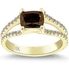 1.87 Carat Natural Fancy Brown Cushion Cut Diamond Engagement Ring 18k Gold - Thumbnail 1