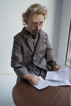 Купить Антон Павлович Чехов - темно-серый, Чехов, писатель, Классик, портретная кукла