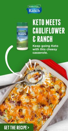 Keto Cauliflower Cheese Casserole Looking for your next Keto-friendly recipe? This Keto Cauliflower Cheese Casserole recipe will be your next weeknight staple made with our Original Ranch Seasoning Mix. Tap the pin to get the recipe. Keto Side Dishes, Veggie Dishes, Vegetable Recipes, Cauliflower Cheese Casserole, Keto Cauliflower, Keto Casserole, Low Carb Recipes, Diet Recipes, Cooking Recipes