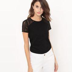 T-shirt manches courtes uni avec empiècement dente