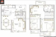 melhores plantas de casas com 3 quartos e cozinha americana para imprimir