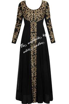 Prathyusha Garimella presents Black embellished long jacket with black inner gown available only at Pernia's Pop Up Shop. Anarkali Dress, Pakistani Dresses, Indian Dresses, Indian Outfits, Abaya Fashion, Muslim Fashion, Indian Fashion, Fashion Dresses, Abaya Designs