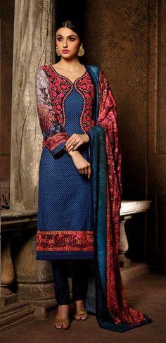 Winter Blue Printed Jacket Style Pashmina Salwar Suits