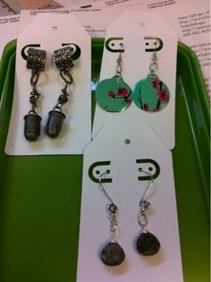 Earrings from Arizona Green Tea Can #Asian #SodaCanJewelry #Metal #Recycle #Stash #FoundObjects