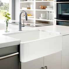 "Houzer 33"" Fireclay Farmhouse Apron Front Single Bowl Kitchen Sink, White, PTG-4300 WH - The Sink Boutique"