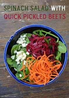 Spinach Salad with Quick Pickled Beets (Mary Makes Good)