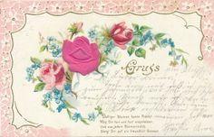Material Präge Ansichtskarte / Postkarte Gruß aus Klotzsche, Rosenblüten, Vergissmeinnicht