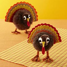 what cute little turkeys. they would make a great project for kids to make. Just use some pipe cleaners, pompoms, and fall felt colors.