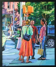 New York Painting Original West Village NYC Figurative Painting, Greenwich Village. New York City Ur New York Painting, City Painting, Autumn Painting, Figure Painting, Greenwich Village, East Village, Fine Art Prints, Original Paintings, Figurative