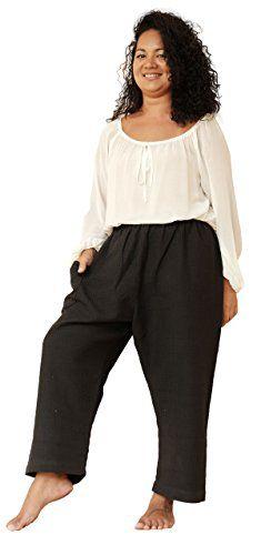 a3214e39eefc Moonlight Mellow Women s Cropped Wild Leg Elastic Waist Basic Style Cotton  Pants