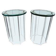 Karl Springer Glass and Lucite Cigarette Side Table Circa 1981 - Todd Merrill