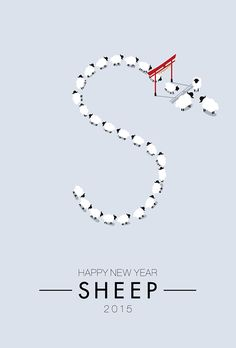 "Japanese New Year Postcard 2015 ""Sheep Year"" on Behance Typography Logo, Typography Design, Professor, Japanese New Year, New Year Postcard, New Years Poster, Japanese Graphic Design, New Year Card, Visual Communication"