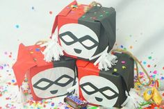 Check out these Super Cute Miniature Surprise Pinatas perfect for any Super Hero Party! These Cute Harley Quinn Inspired Pinatas come in sets of 3 and contain prizes which vary by style & may include: book marks, riddle, sweets, & fortune cookie. Each Pinata has a soft spot on back side which gets punched open to reveal prizes.   Makes an interesting and unique alternative to loot bags or just use as special decor! All Hand-Crafted Pinatas have Slight Variations making each one unique...