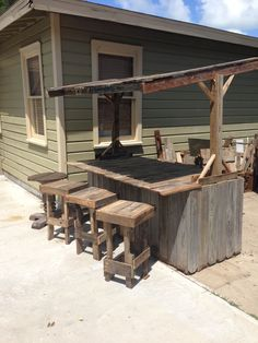 Wood fence bar and pallet stools