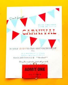 carnival party - cookies Circus theme party Invite This circus-inspired two-layer cake is frosted in white, then piped in tent colors, trimm. Carnival Tickets, Carnival Posters, Circus Carnival Party, Circus Theme Party, School Carnival, Carnival Birthday Parties, Carnival Themes, Circus Birthday, 13th Birthday