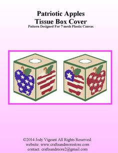 PATRIOTIC APPLES TISSUE BOX COVER by JODY VIGEANT 1/2