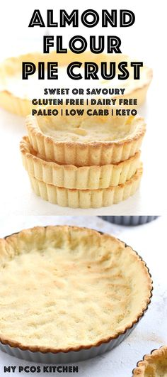Low Carb Keto Almond Flour Pie Crust - blanched almond flour, coconut flour, butter/lard/shortening/tallow/coconut oil, eggs, powdered erythritol (for a sweet crust) OR salt + onion flakes + rosemary + garlic powder (for a savoury crust)
