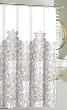 Attractive Nicole Miller Home Fabric Shower Curtain Grey Floral Lace... Https://
