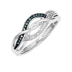 925 Rhodium Flashed Silver Twist Knot Diamond and Blue Diamond Ring, Women's