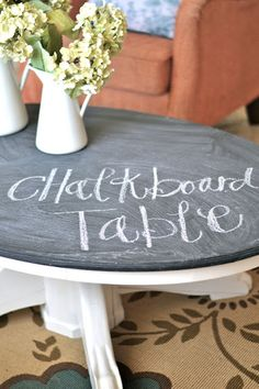 DIY: Chalkboard Coffee Table. | Paddington Way.  I Wonder If This Would  Work For An Outdoor Game Table. Thinking Tic Tac Toe