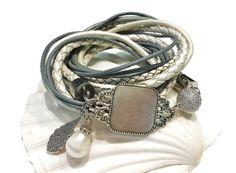 ♥Leather-Bracelet♥ Armband in Grau/Perlmutt/Weiss von ✿✿-nicita-✿✿  auf DaWanda.com