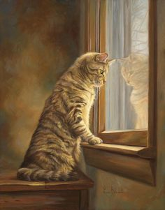 Lucie Bilodeau (b.1967) —  Peering out the Window (705x900)