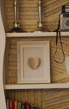 I love this little three dimentional heart made from book pages.