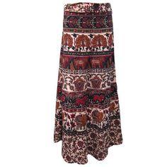 Mogulinterior Hippie Wrap Skirt Brown Elephant Printed Cotton Beach Sarong Open waist