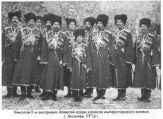 Tsar Nicholas II and Tsarevich Alexei, Cossack Konvoii, Mogilev, 1916: