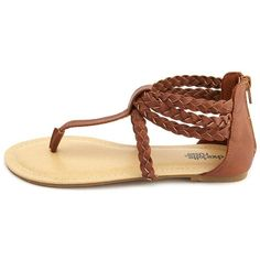 Braided Zip-Back T-Strap Sandal ($20) ❤ liked on Polyvore