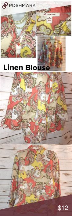 🍁 EUC JM Collection Linen Top Size 18 🍁 So pretty and comfy women's size 18 . Worn once, washed . Smoke free home, clean top that will go with so many things. Colors are soft coral, brown, white, yellow ,peach. No flaws! JM Collection Tops Blouses