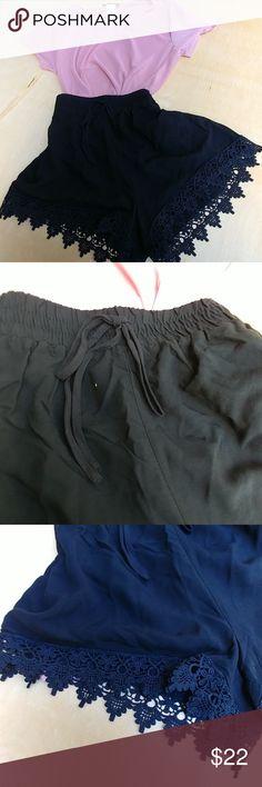 Black crochet shorts Trending beautiful and fresh 100 polyester. Shorts
