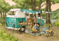 In some late afternoons, when the sunshine has gone out, we go camping in a quiet forest in an RV.