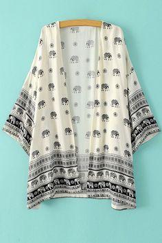 Collarless Elephant Print Long Sleeve Kimono: Kimonos | ZAFUL