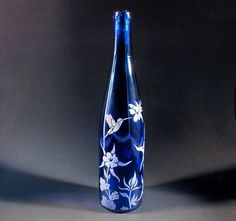 Etched Glass Upcycled Wine Bottle, Cobalt Blue Columbine, and Hummingbird